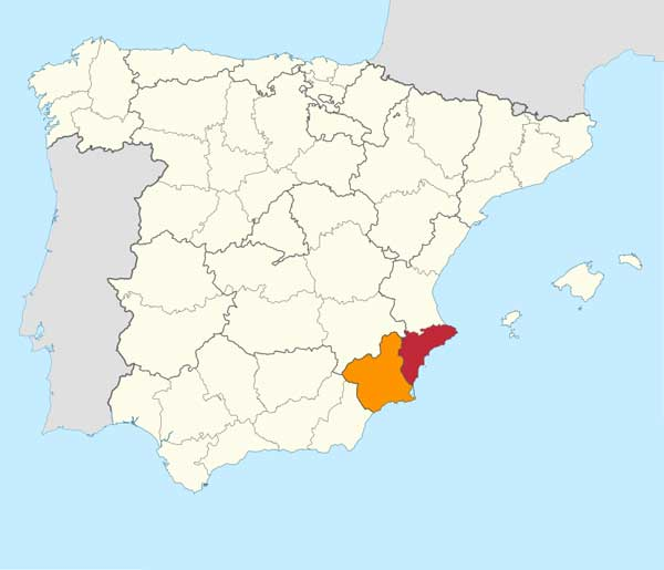 Carte représentant les meilleures régions de golf en Espagne