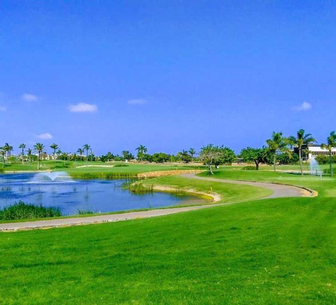 Roda Golf - Vue du 7ème green – trou signature – de derrière le 6ème green